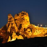 Учхисар - вид крепости ночью