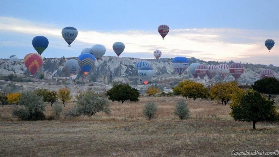 Место где стартуют воздушные шары в Каппадокии