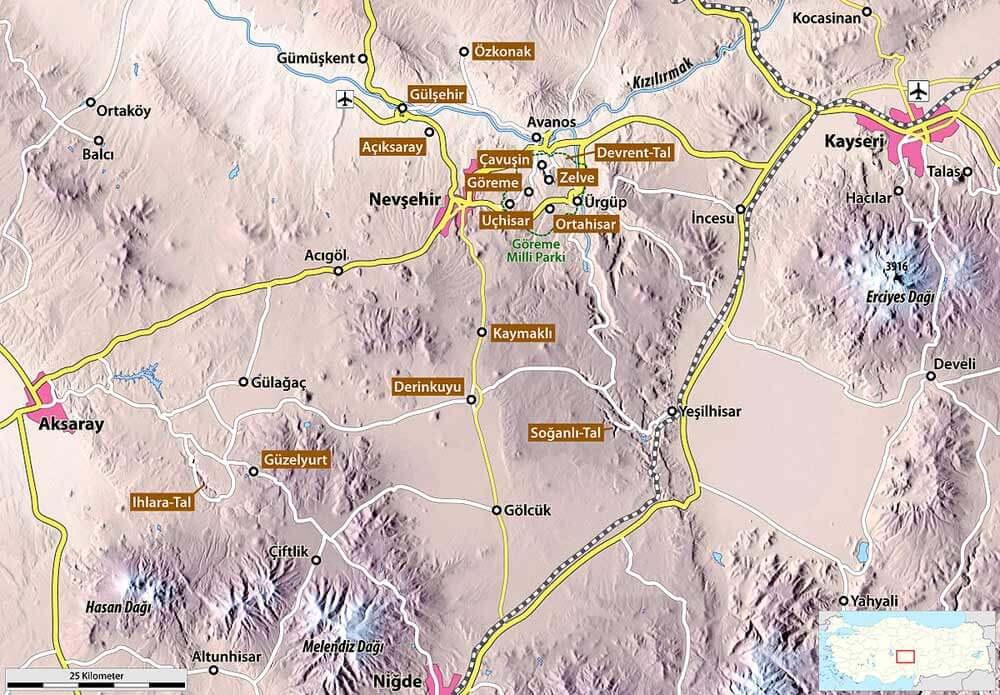 Горы Эрджиес, Хасан и Мелендиз на карте Каппадокии