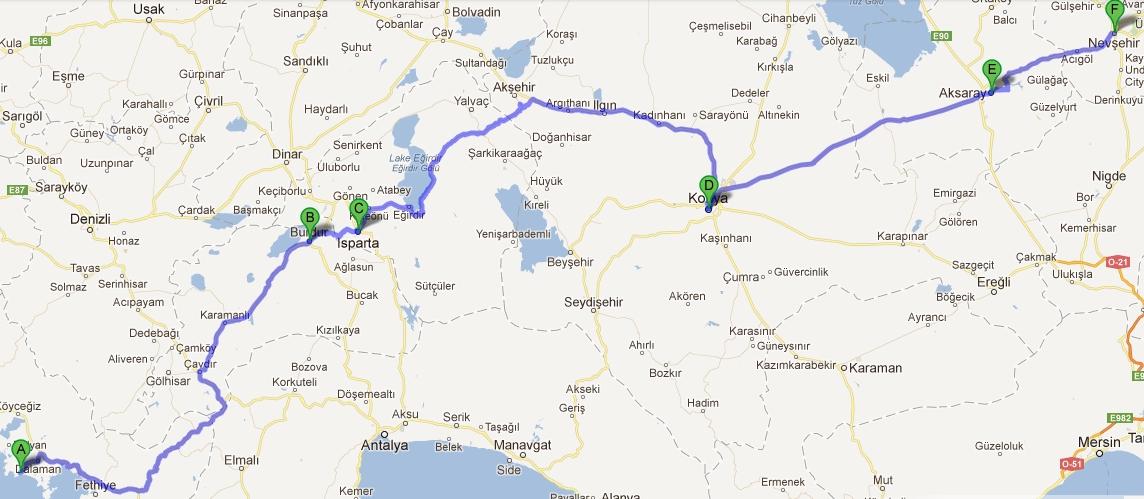 Наш маршрут до Каппадокии