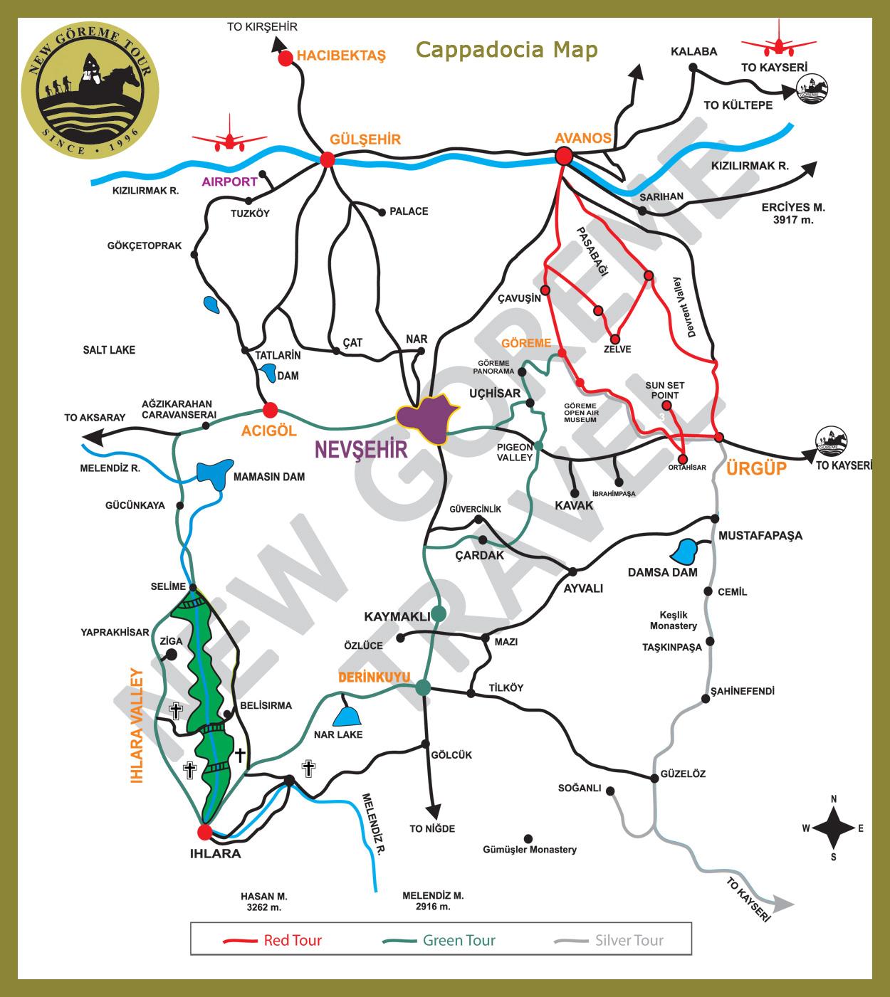 Карта «цветных» туров в Капподокии