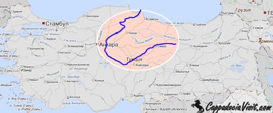 Река Кызылырмак на карте Турции