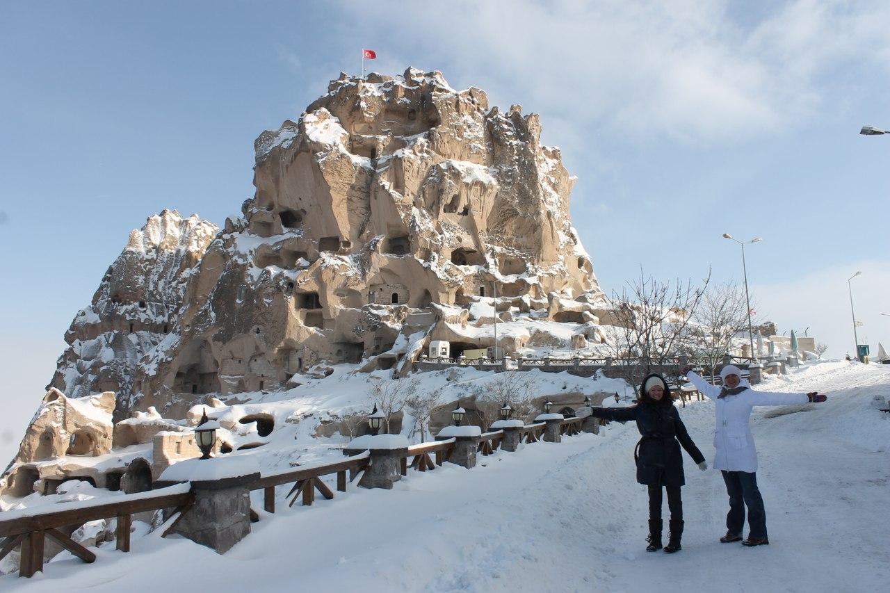 Крепость Ухчисар зимой