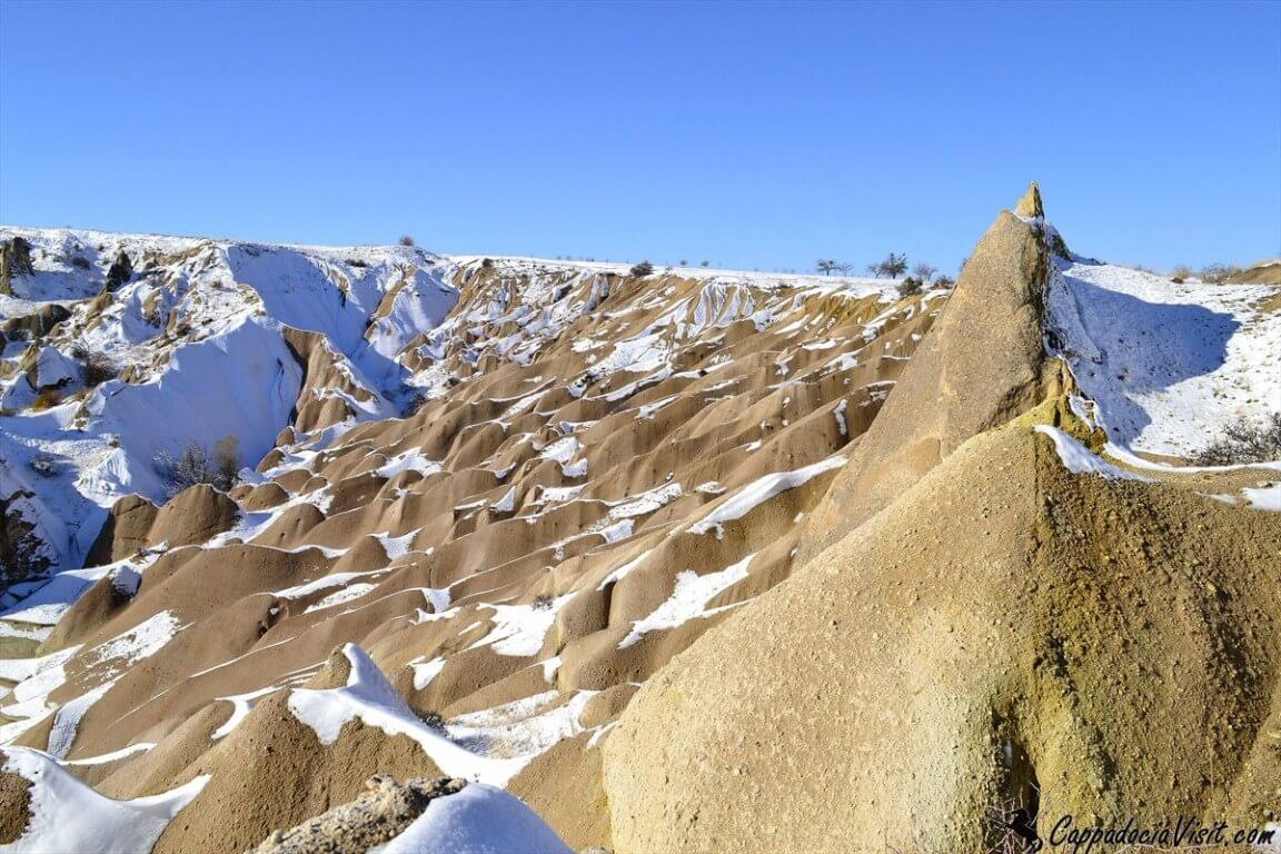 Скальные дюны Каппадокии зимой