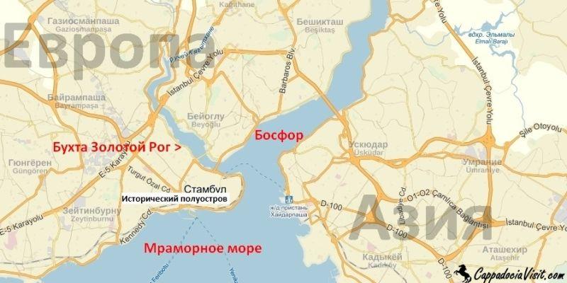 Бухта Золотой Рог на карте Стамбула