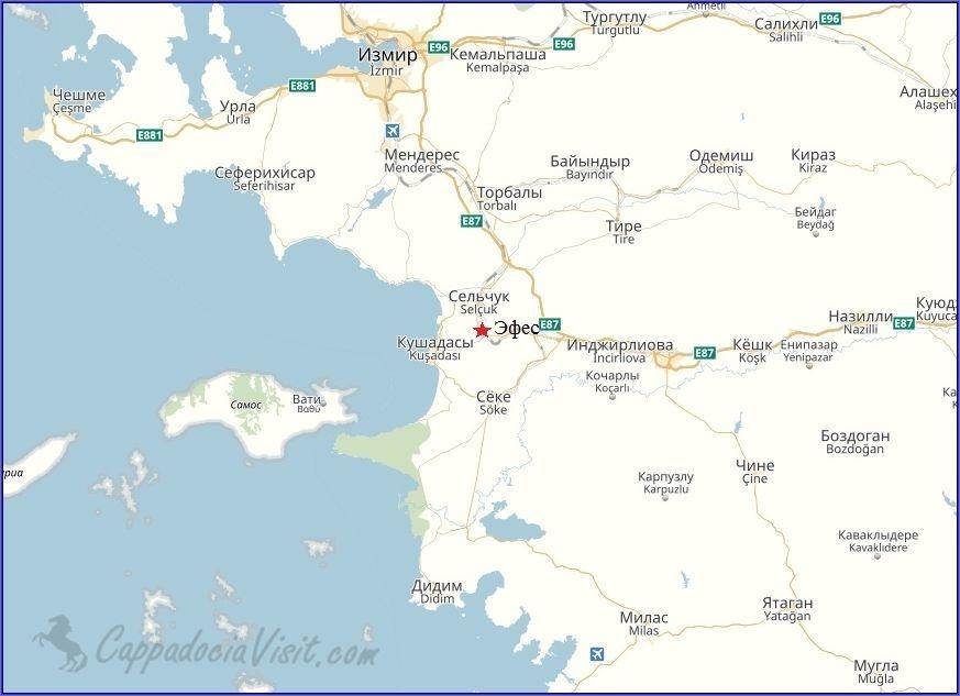 Эфес на карте Турции