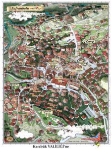 Карта-план города Сафранболу с указанием достопримечательностей