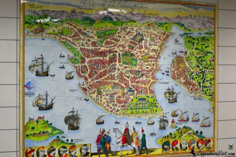 Карта Стамбула -16 век. Одна из остановок Мармарай — подводный тоннель под Босфором
