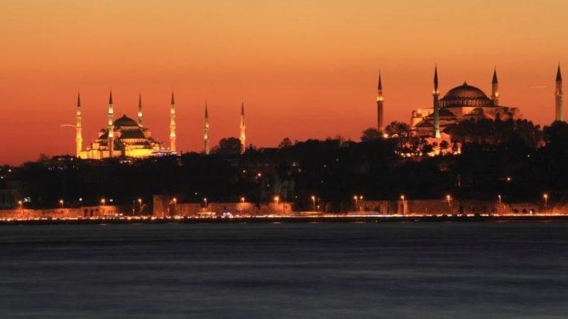 Голубая мечеть и Айя-Софья - закат