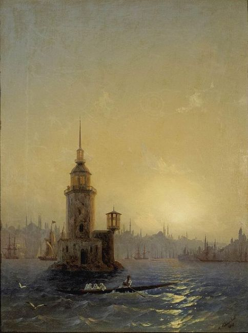 «Вид Леандровой башни в Константинополе» — картина Айвазовского