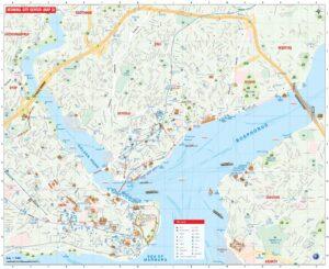 Большая, подробная туристическая карта Стамбула с достопримечательностями