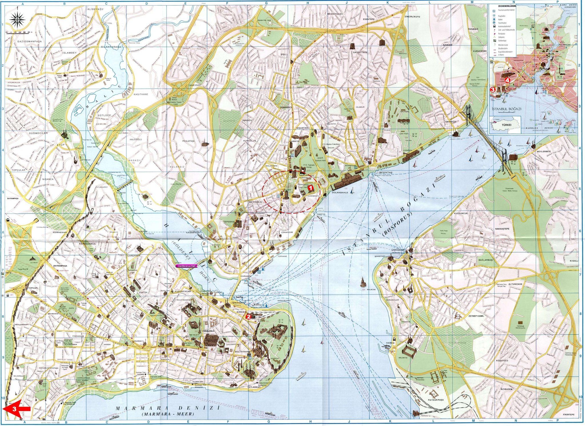 Туристическая карта центра Стамбула