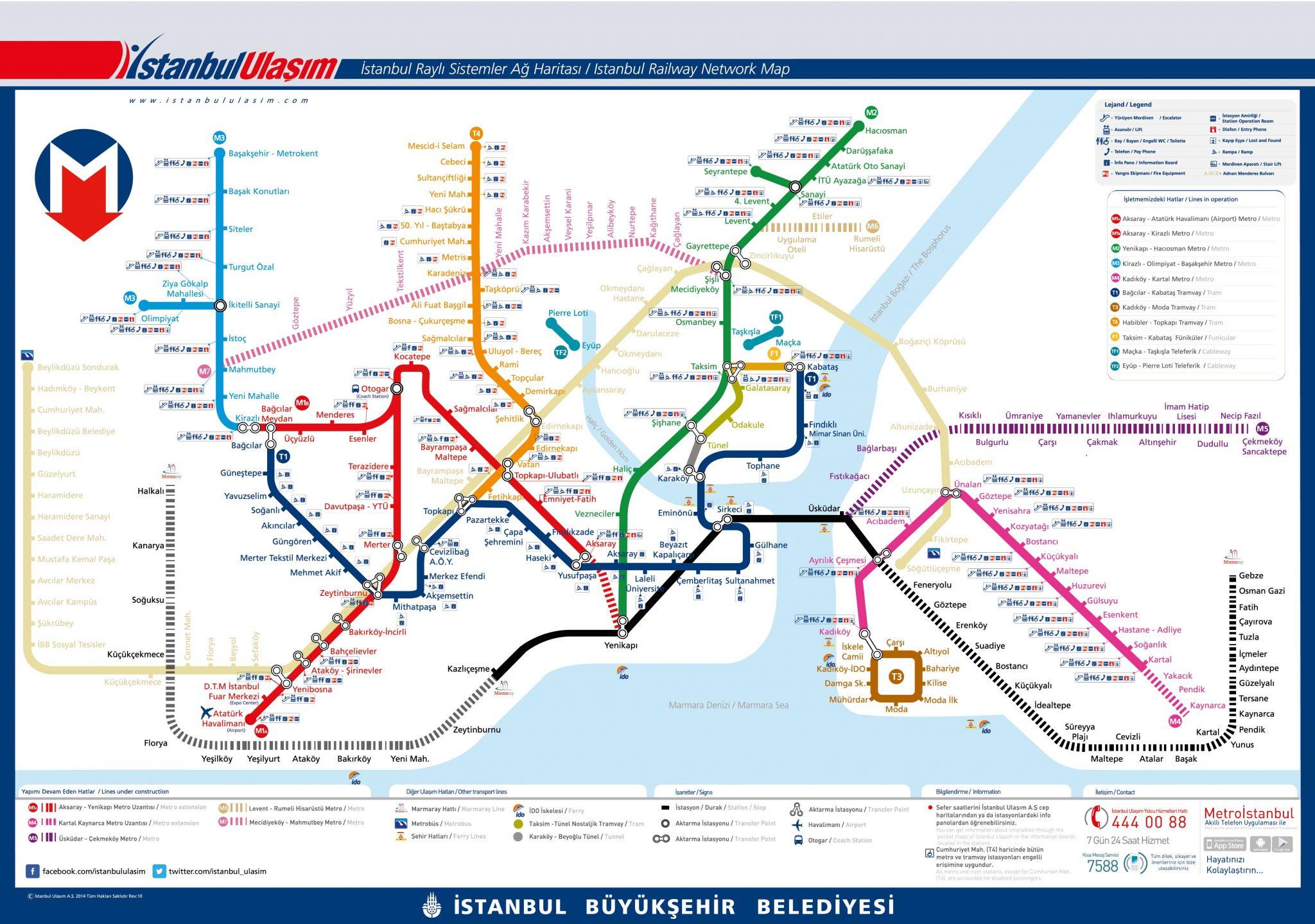 Карта - схема рельсового транспорта Стамбула (Метро) Стамбула