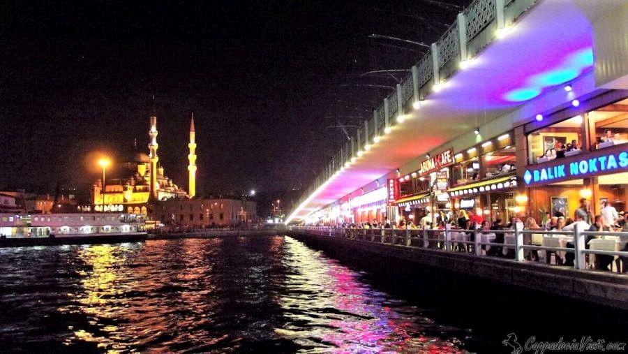 Новая мечеть (Йени Джами) - Вид с Галатского моста ночю