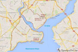 Султанахмет в Фатихе и Таксим в Бейоглу на карте Стамбула