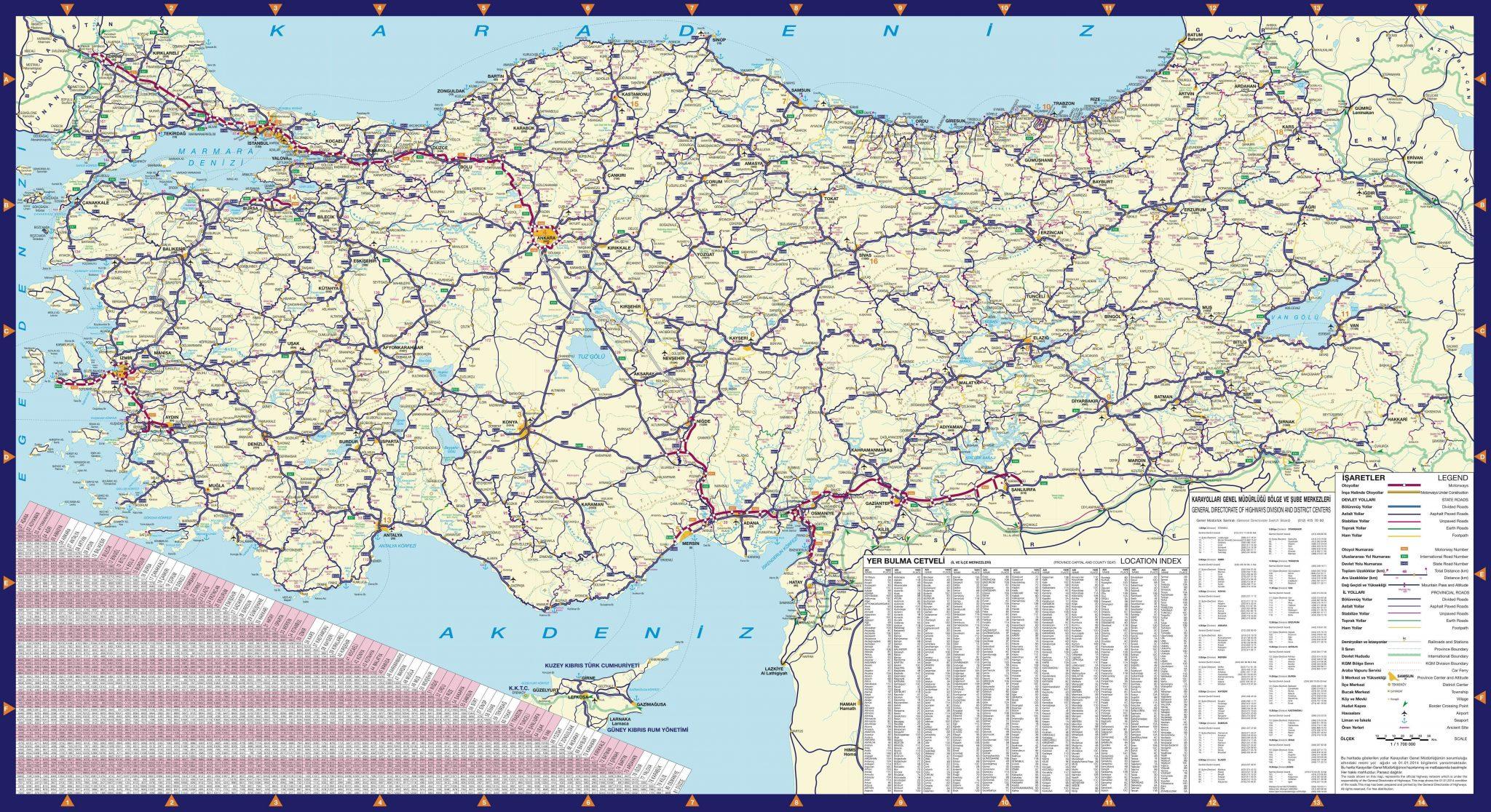 Подробная карта автодорог Турции