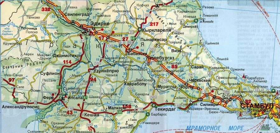 Эдирне на карте Турции