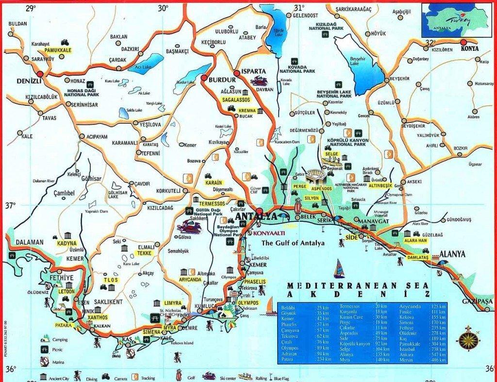 Карта достопримечательностей вокруг Анталии