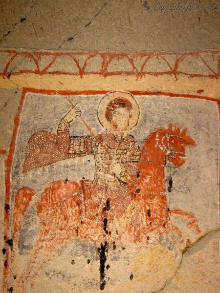 Святой Феодор Стратилат, поражающий копьем змея