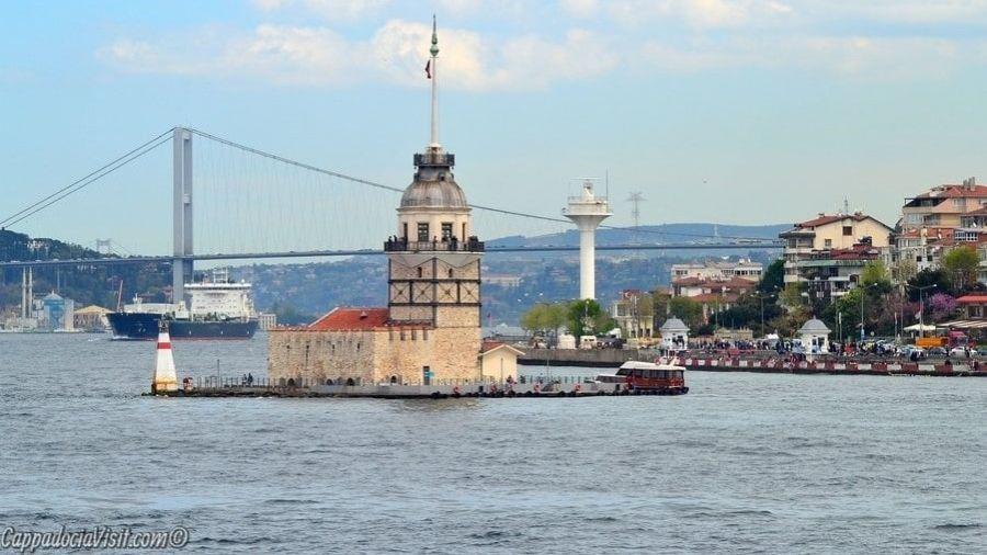 Девичья башня на фоне Босфорского моста