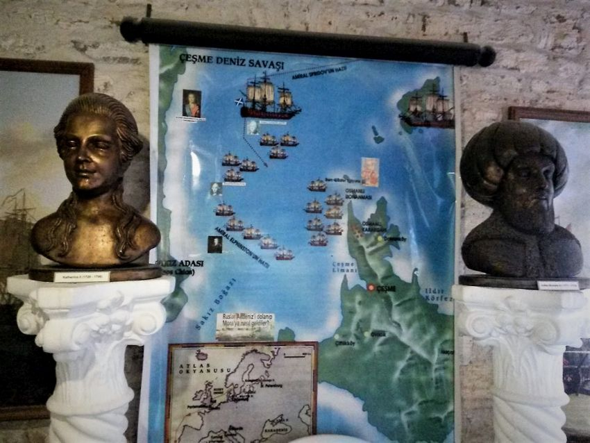Карта Чесменского сражения и бюсты в музее