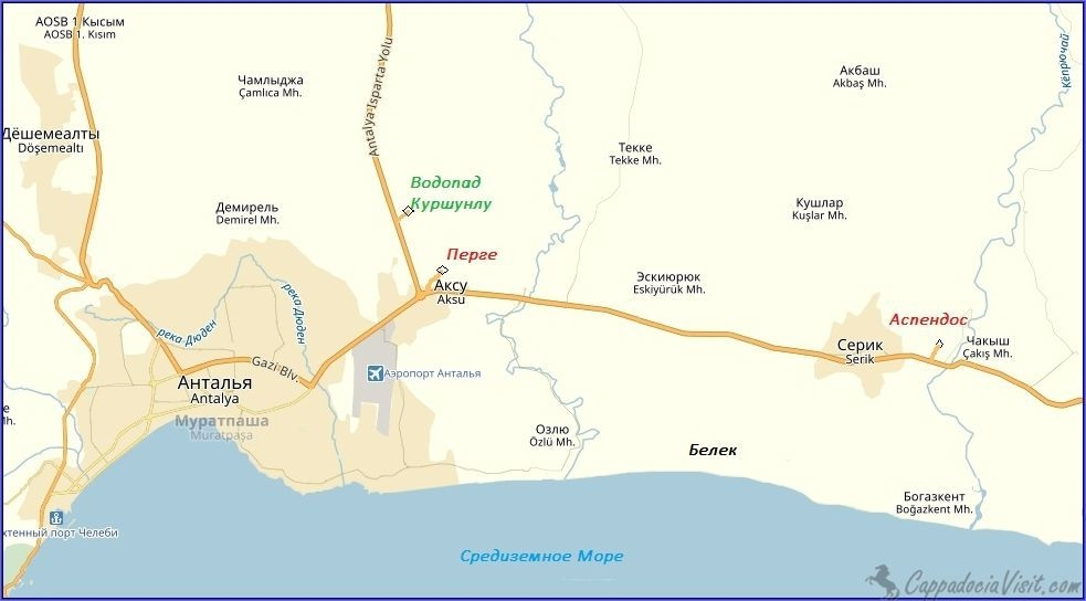 Древний город Перге на карте