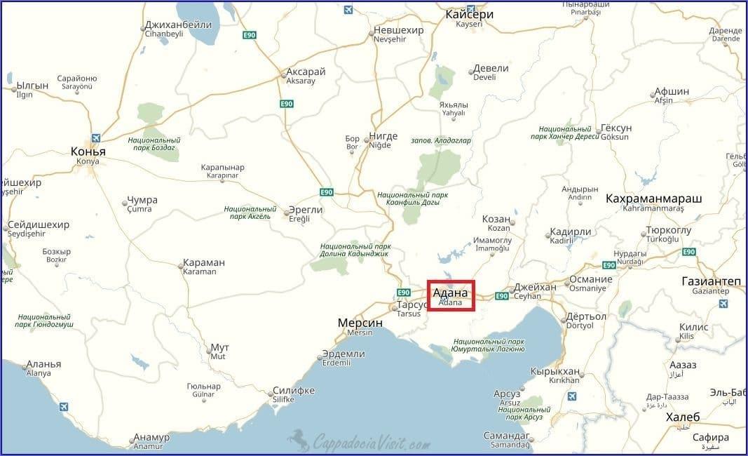 Адана на карте Турции