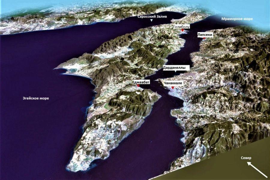 Пролив Дарданеллы (Геллеспонт) на карте