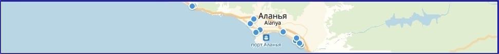 Отели Алании на карте Туции
