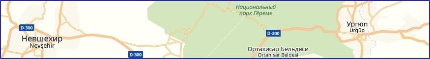 Пещерные отели Каппадокии на карте