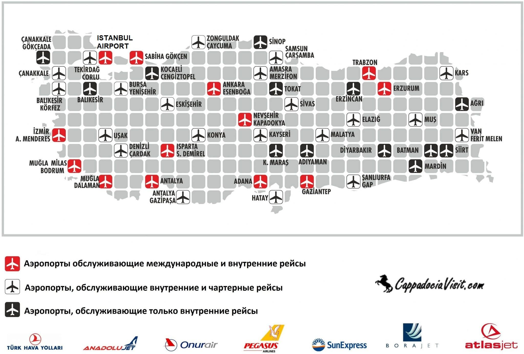 Аэропорты Турции на карте