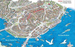 Район Бейоглу, площадь Таксим и улица Истикляль на карте