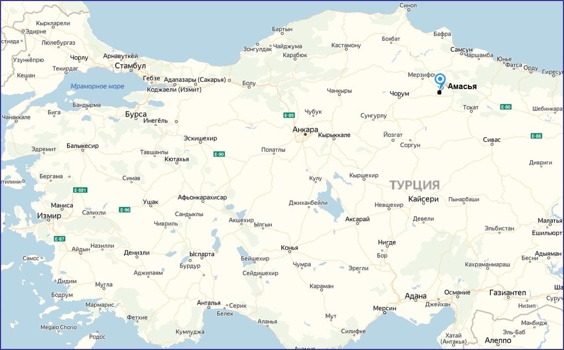 Амасья на карте Турции