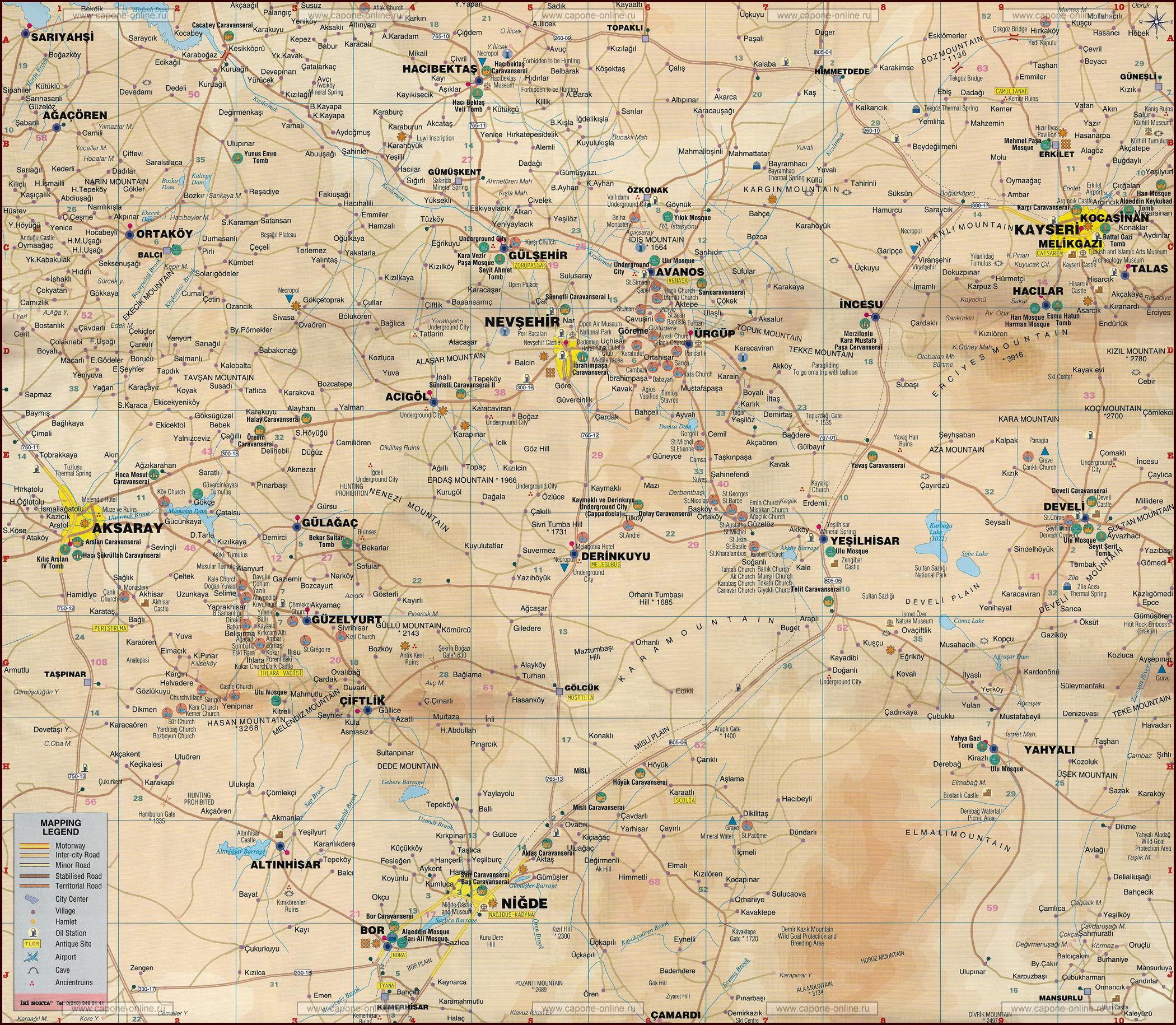 Подробная карта дорог и достопримечательностей Каппадокии